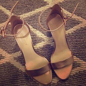 Nine West Pruce rose gold block heel sandals